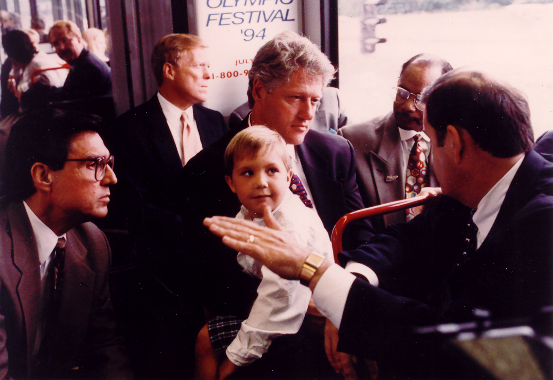 President Clinton rode MetroLink right after it opened in 1994.